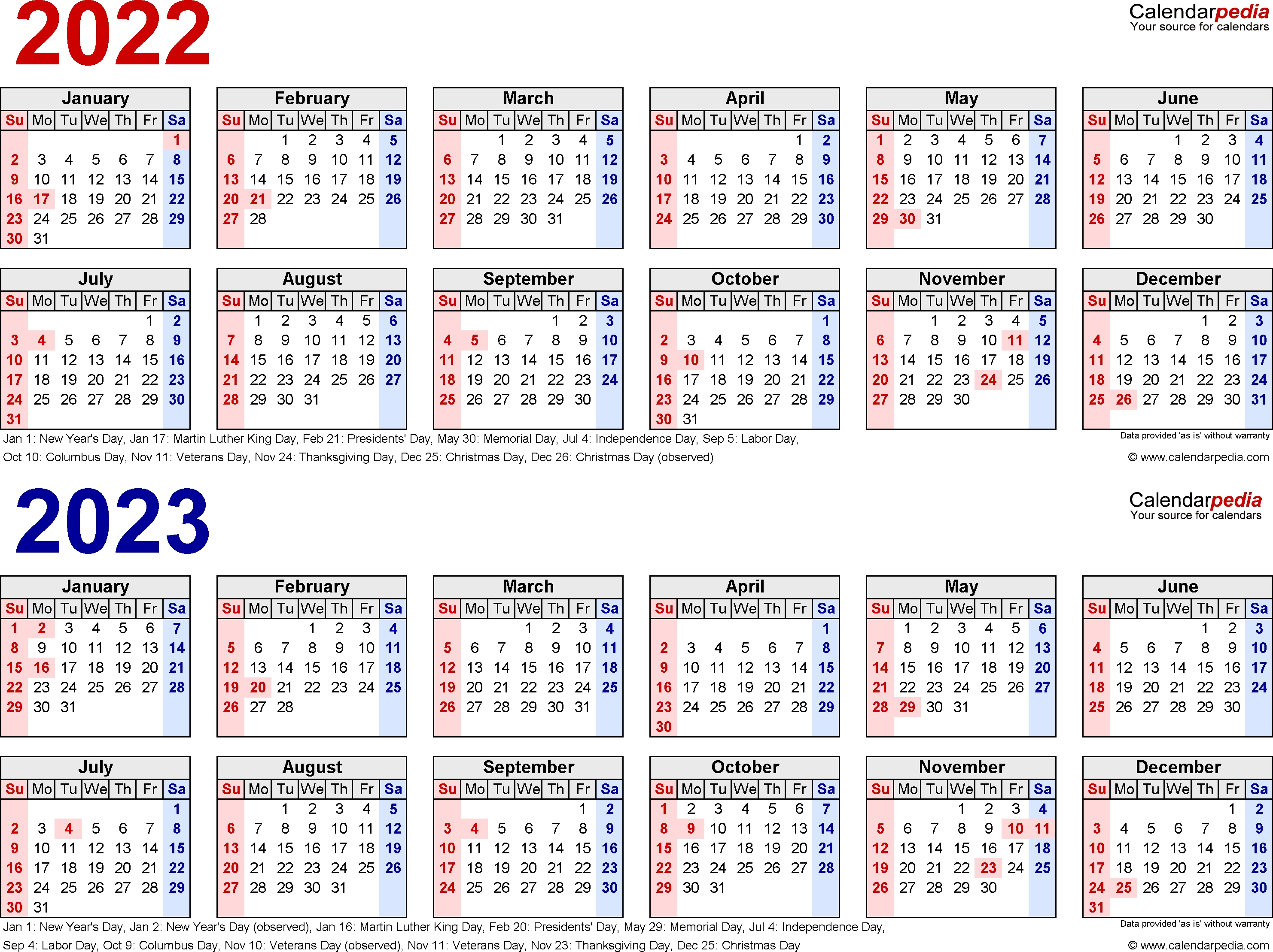 2022-2023 Two Year Calendar - Free Printable Excel Templates