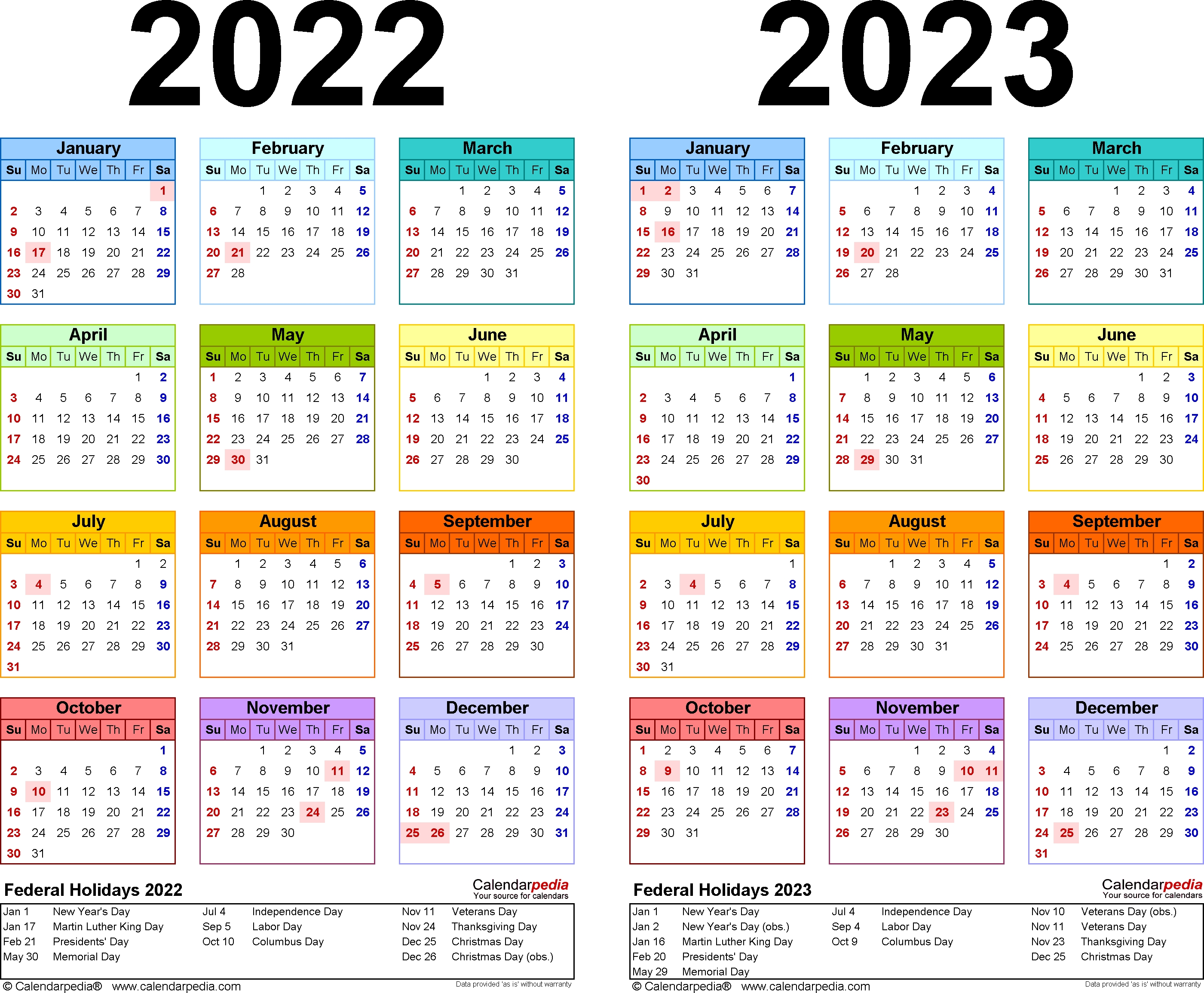 2022-2023 Two Year Calendar - Free Printable Word Templates