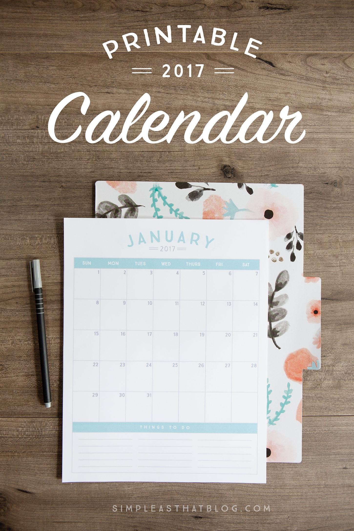 23 Free 2017 Calendar Printables | Mom Spark - Mom Blogger
