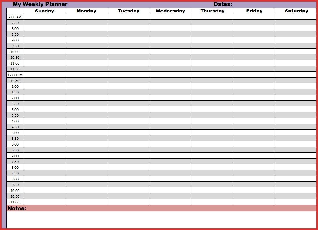 24 Hour Week Calendar Template Week Calendar With Hours