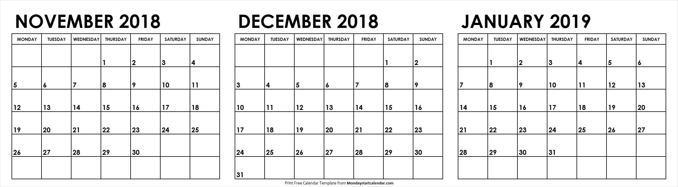 3 Month Calendar November December 2018 January 2019 Template