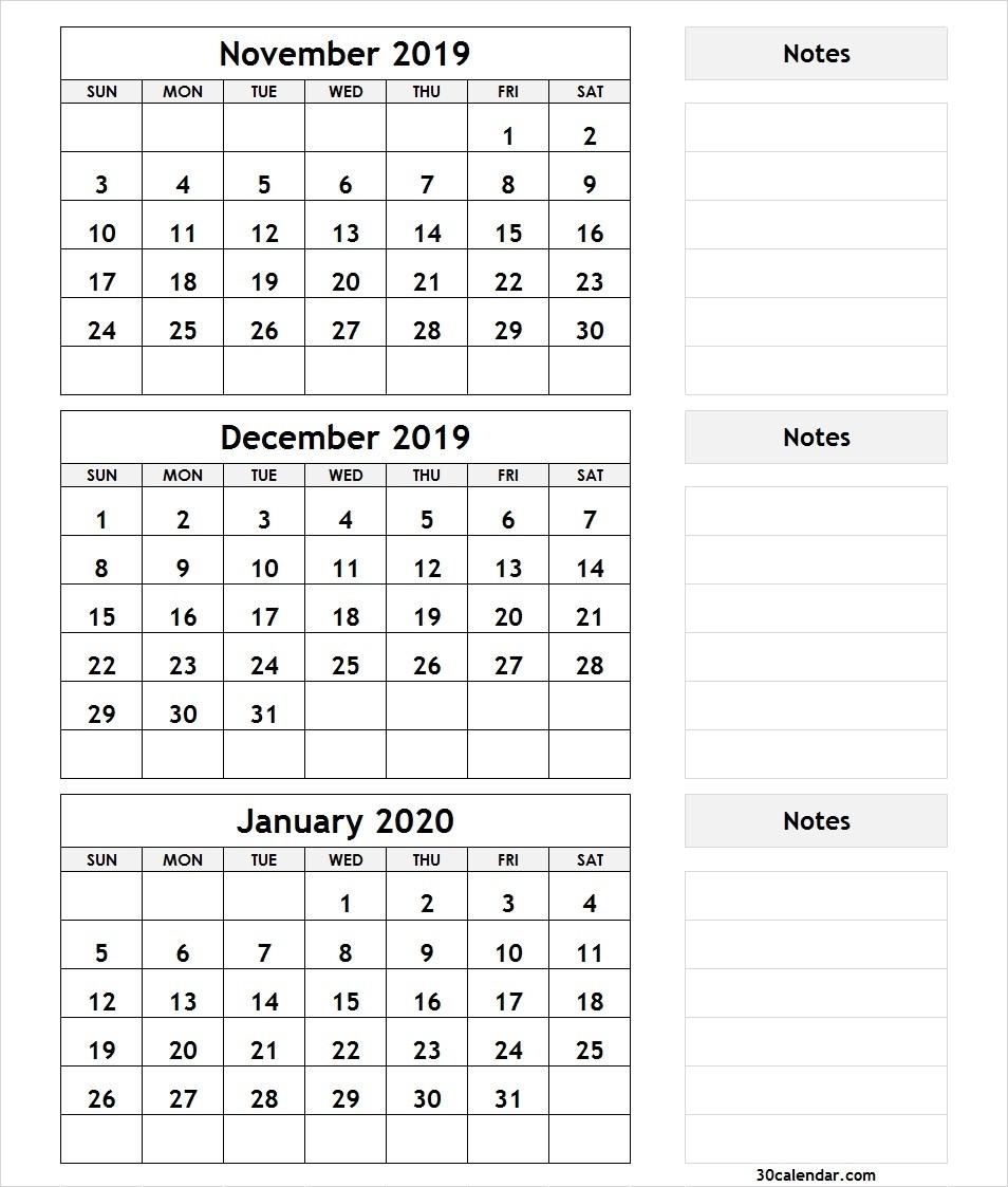 3-Month-Calendar-November-December-2019-January-2020 – 30