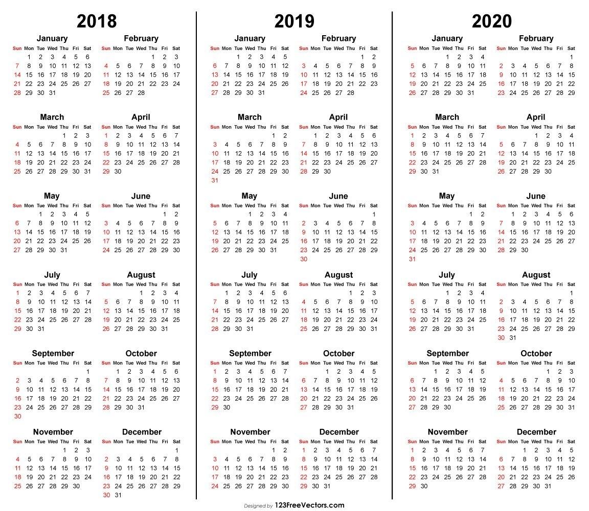 3 Year Calendar 2018 2019 2020 Printable | Calendar