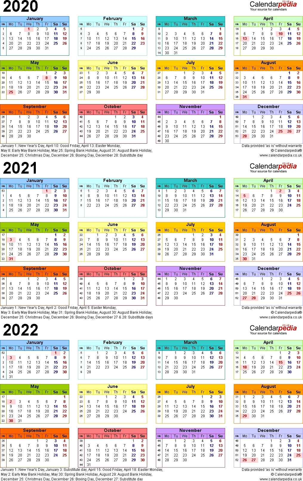 3 Year Calendar 2020 2021 2022 | Us Calendar Example