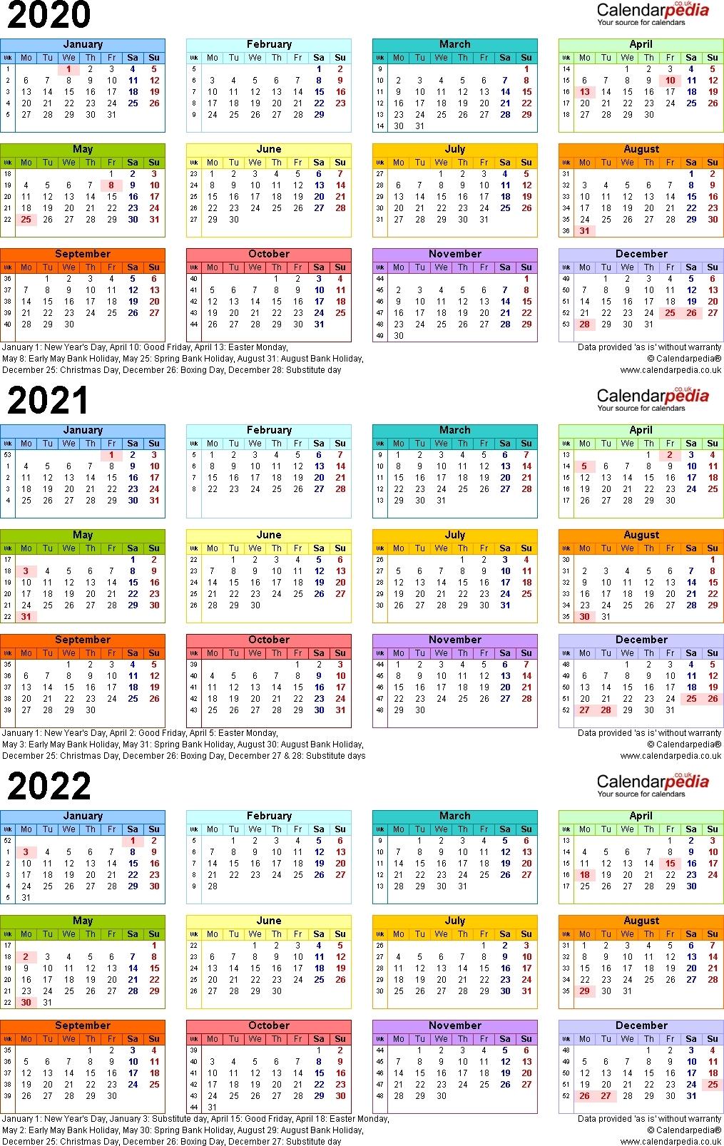 3 Year Calendar 2020 2021 2022   Us Calendar Example