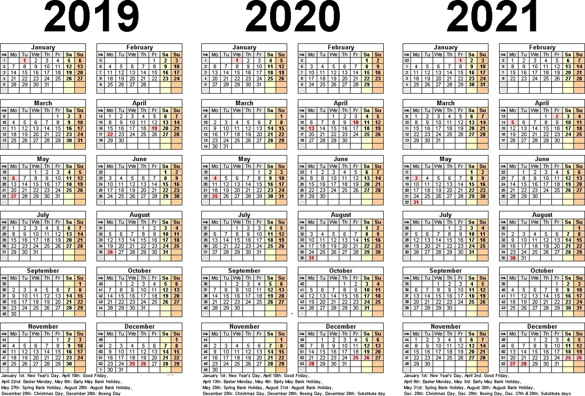 3 Year Calendar Printable 2019 2020 2021 For All Ages For