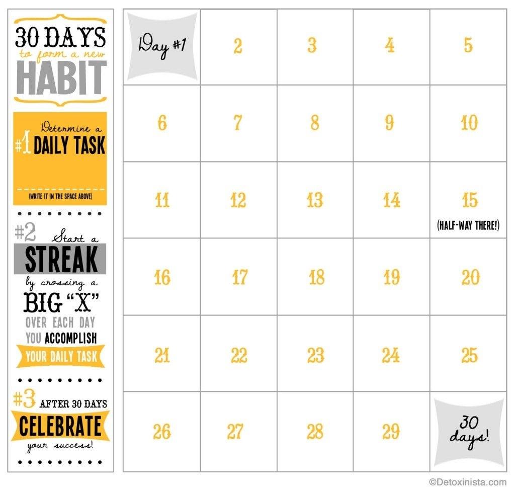 30-Day Printable Calendar | Workout Calendar, Goal Calendar