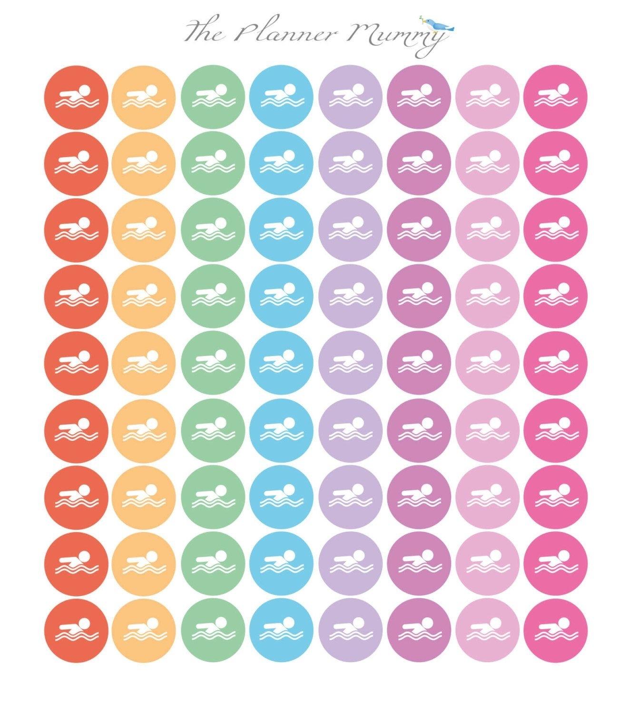 32 X Swimming Lesson Reminder Planner Stickers Swim
