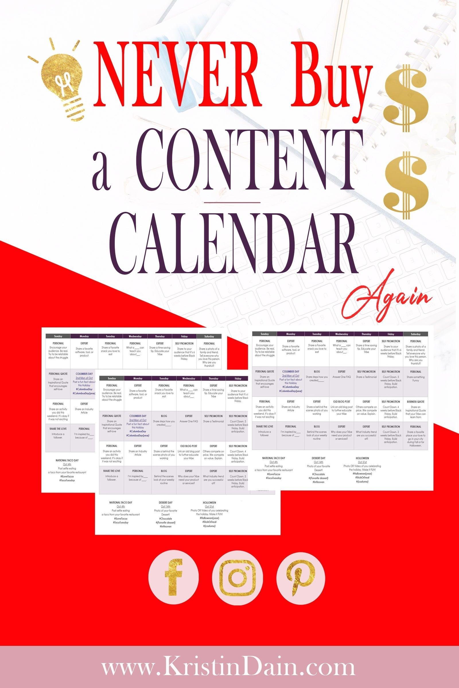 365 Day Social Media Content Calendar | Social Media Content
