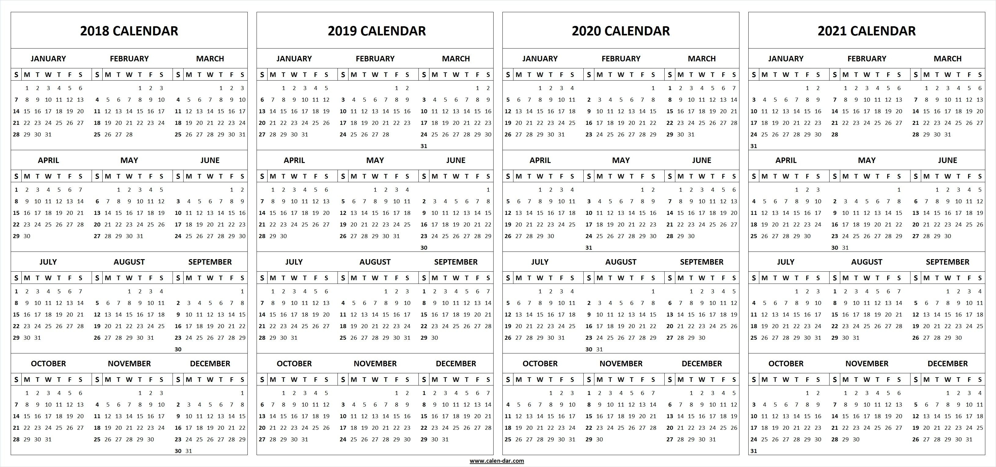 4 Four Year 2018 2019 2020 2021 Calendar Printable Template