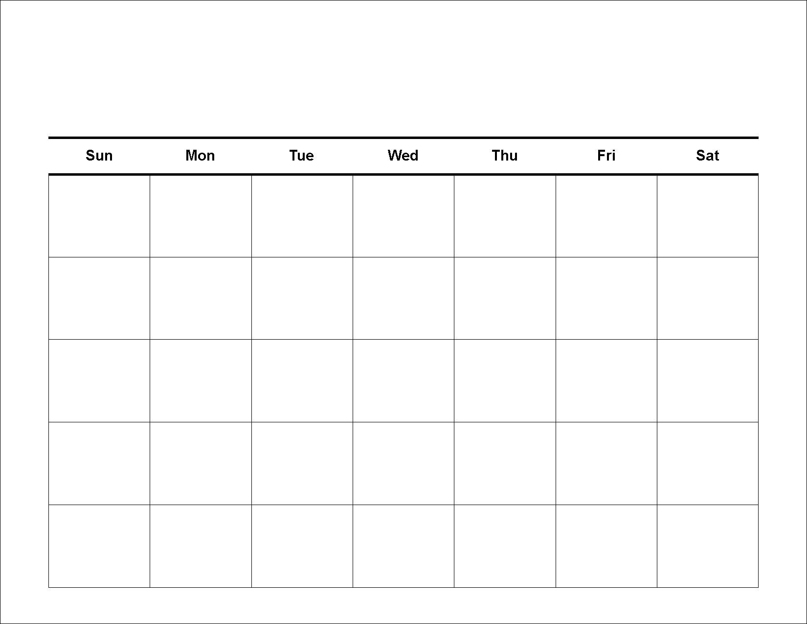 5 Day Monthly Calendar Template 2019 • Printable Blank