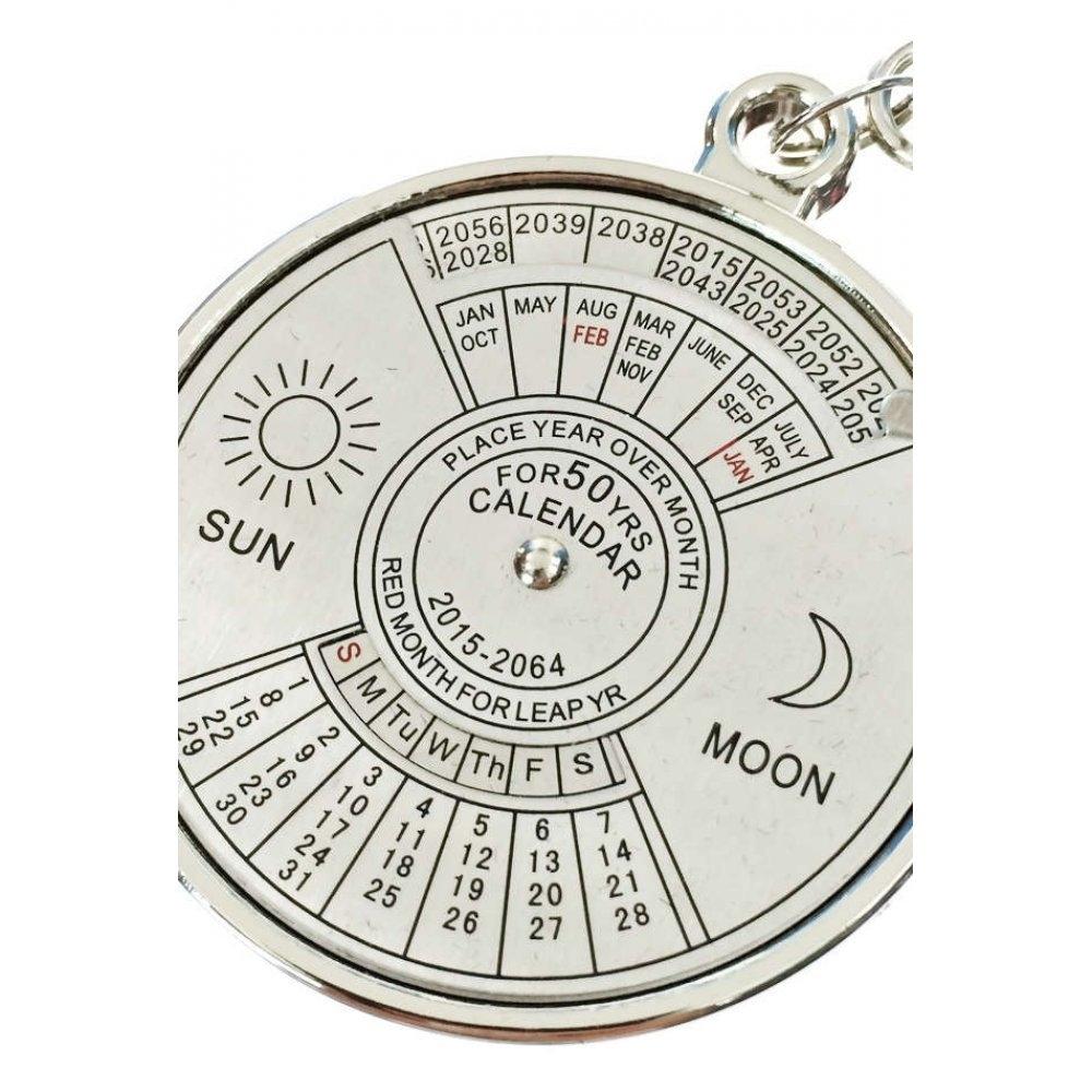 50 Year Calendar Keychain Silver Metal : Scientific Key Ring