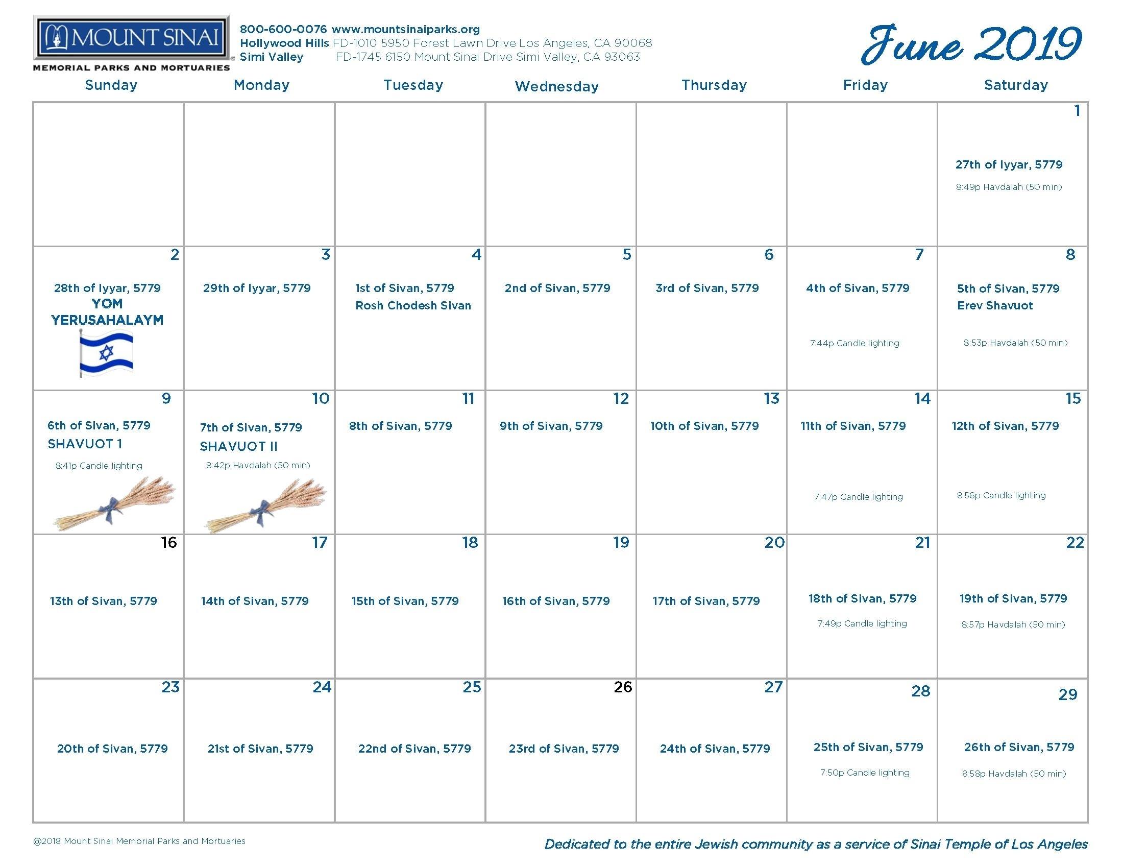 5779 Hebrew Calendar - Mount Sinai Memorial Parks And
