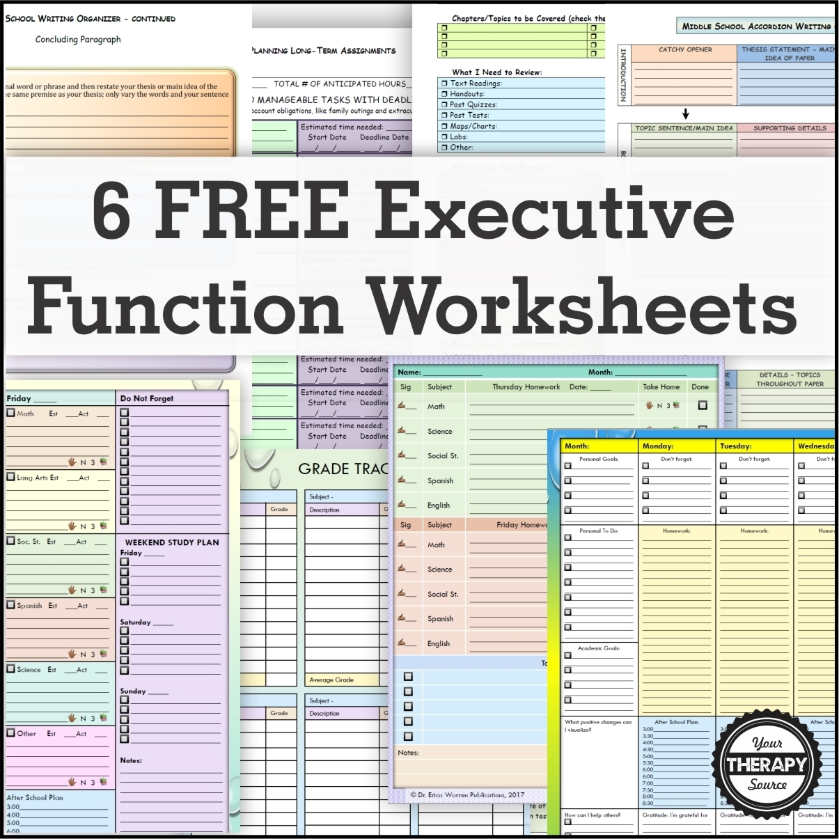 6 Free Executive Functioning Activity Worksheets - Your