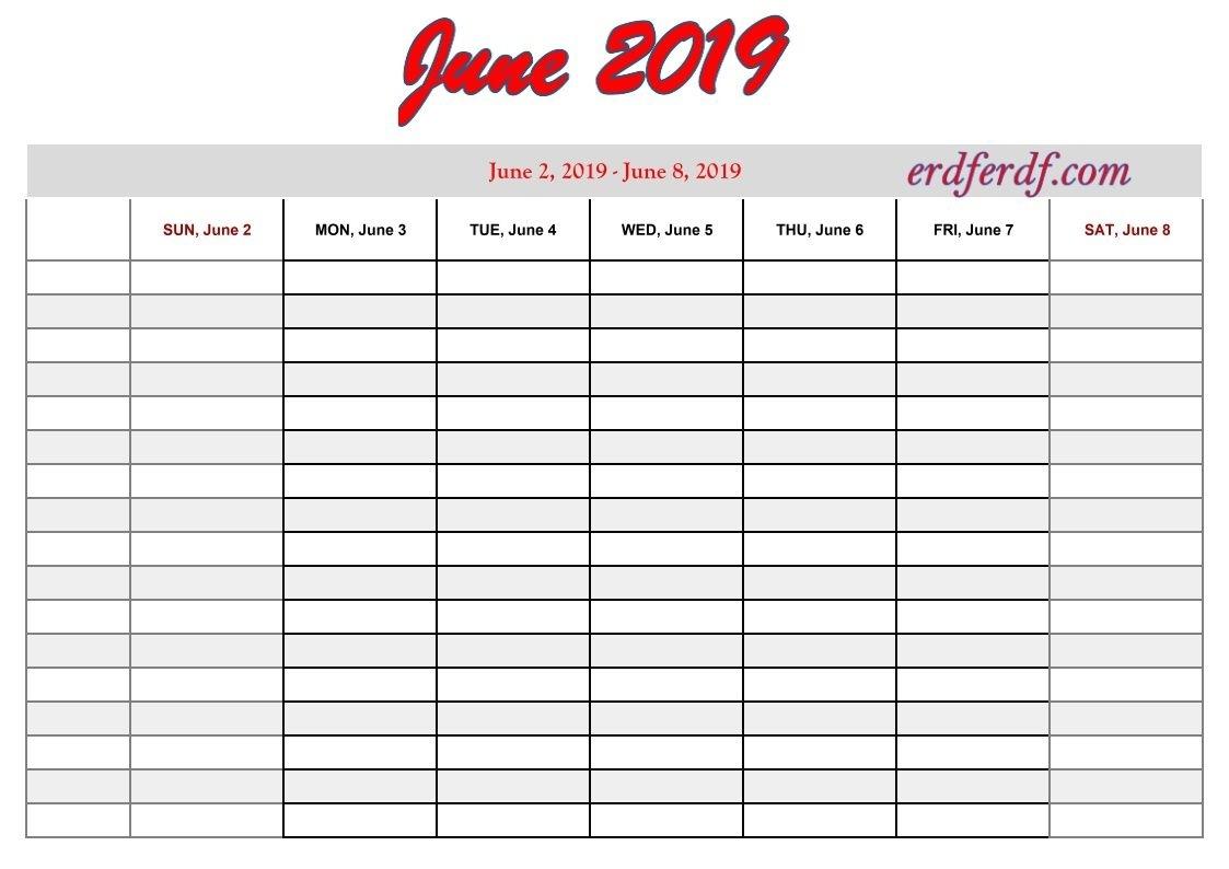 6 June Free Printable 2019 Calendar With Week Numbers | 2019