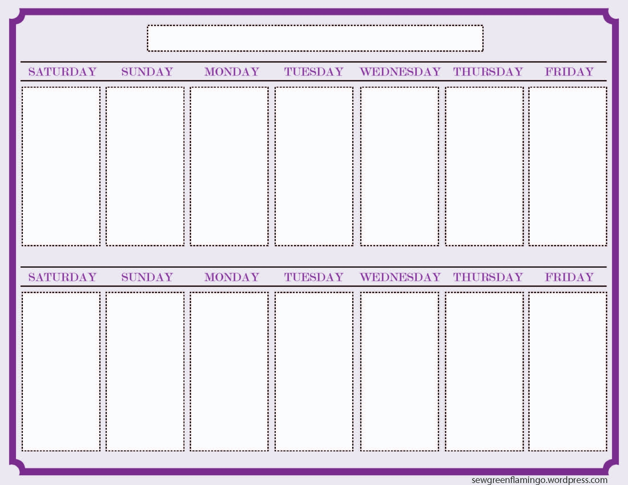 7 Best Images Of 2 Week Calendar Template Printable