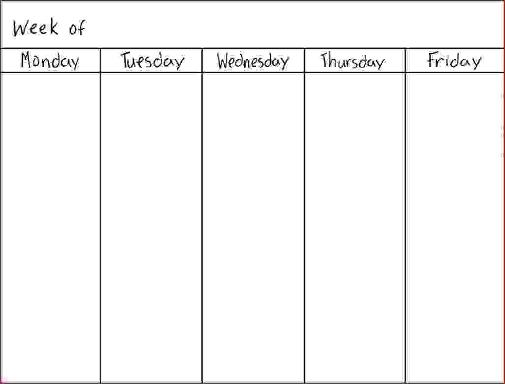 7 Day Weekly Schedule Template Physicminimalisticsco 7 Day