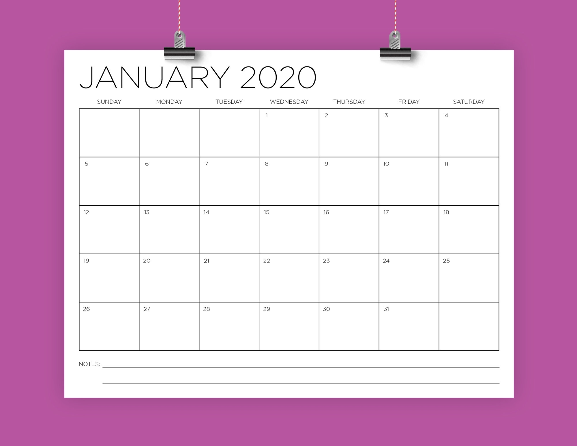 8.5 X 11 Inch 2020 Calendar Template | Instant Download | Modern Thin Sans  Serif Type Monthly Printable Desk Wall Calender | Print Ready