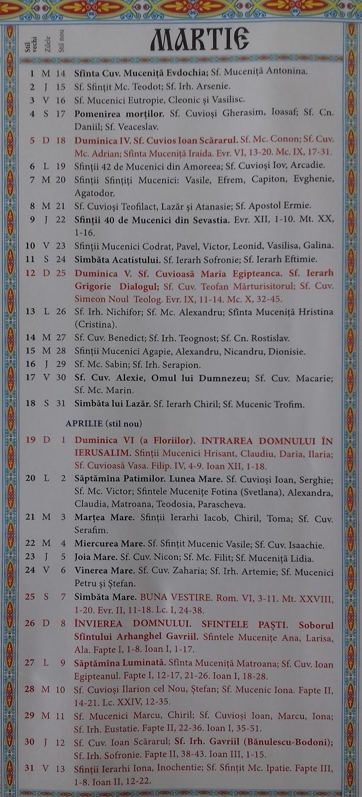 8 Iunie 2019 Calendar Ortodox   Ten Free Printable Calendar