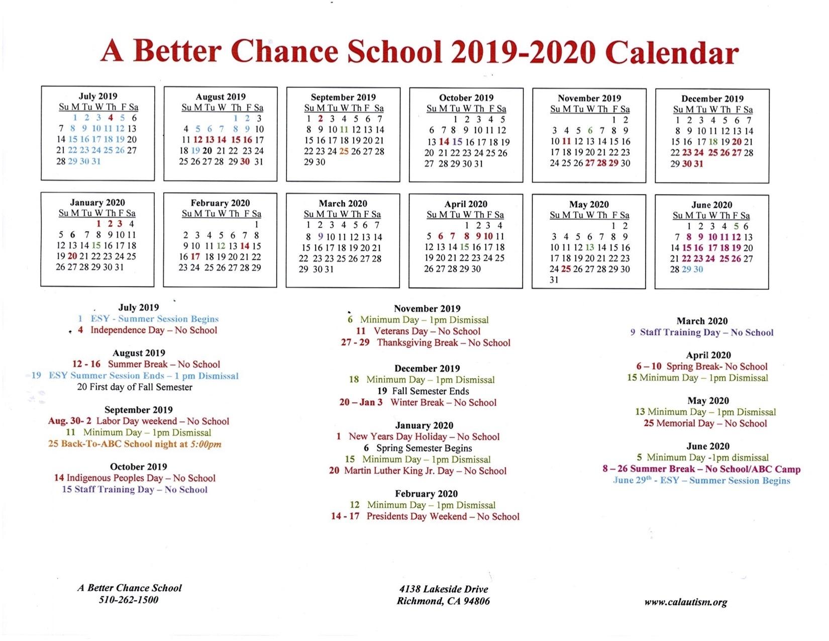 A Better Chance School 2019-2020 Calendar « California