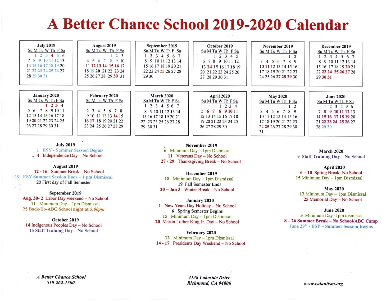 A Better Chance School 2019-2020 Calendar « California
