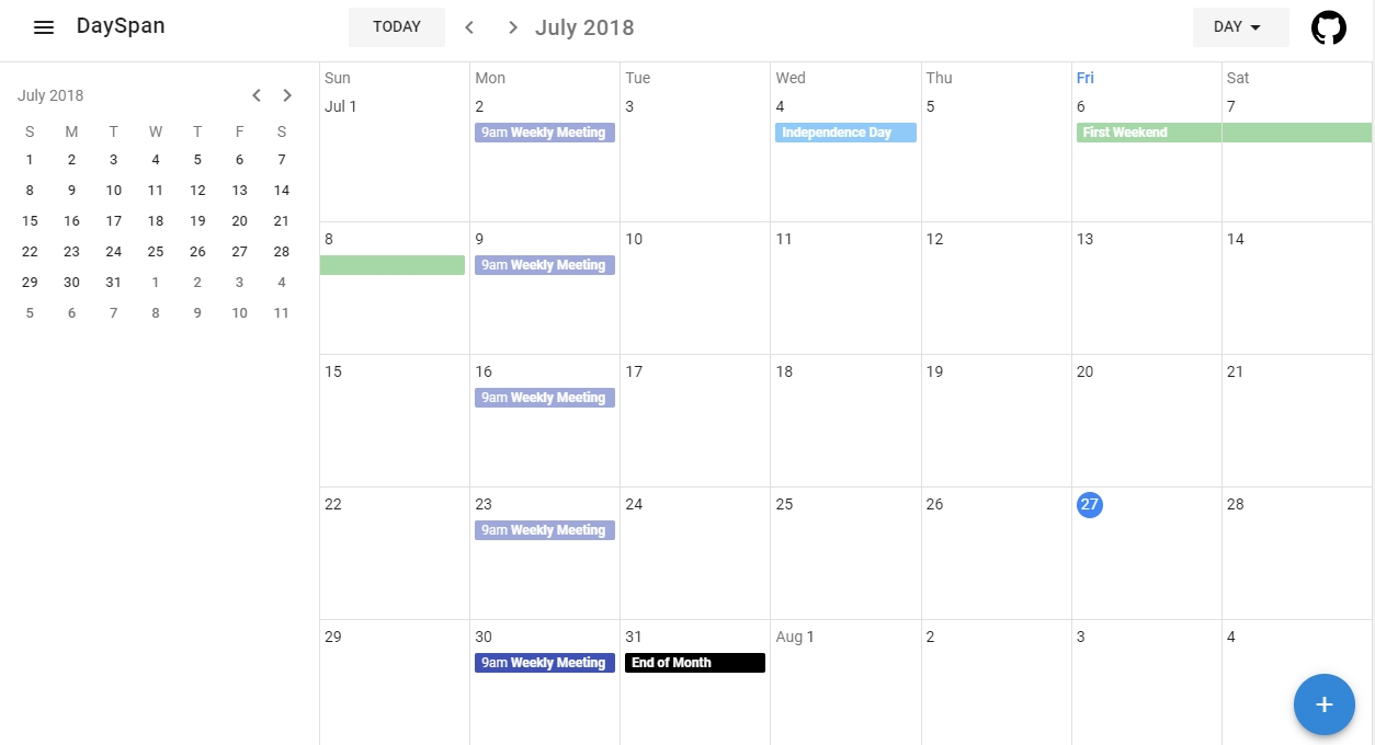 A Collection Of Components That Visualizes Dayspan Calendars