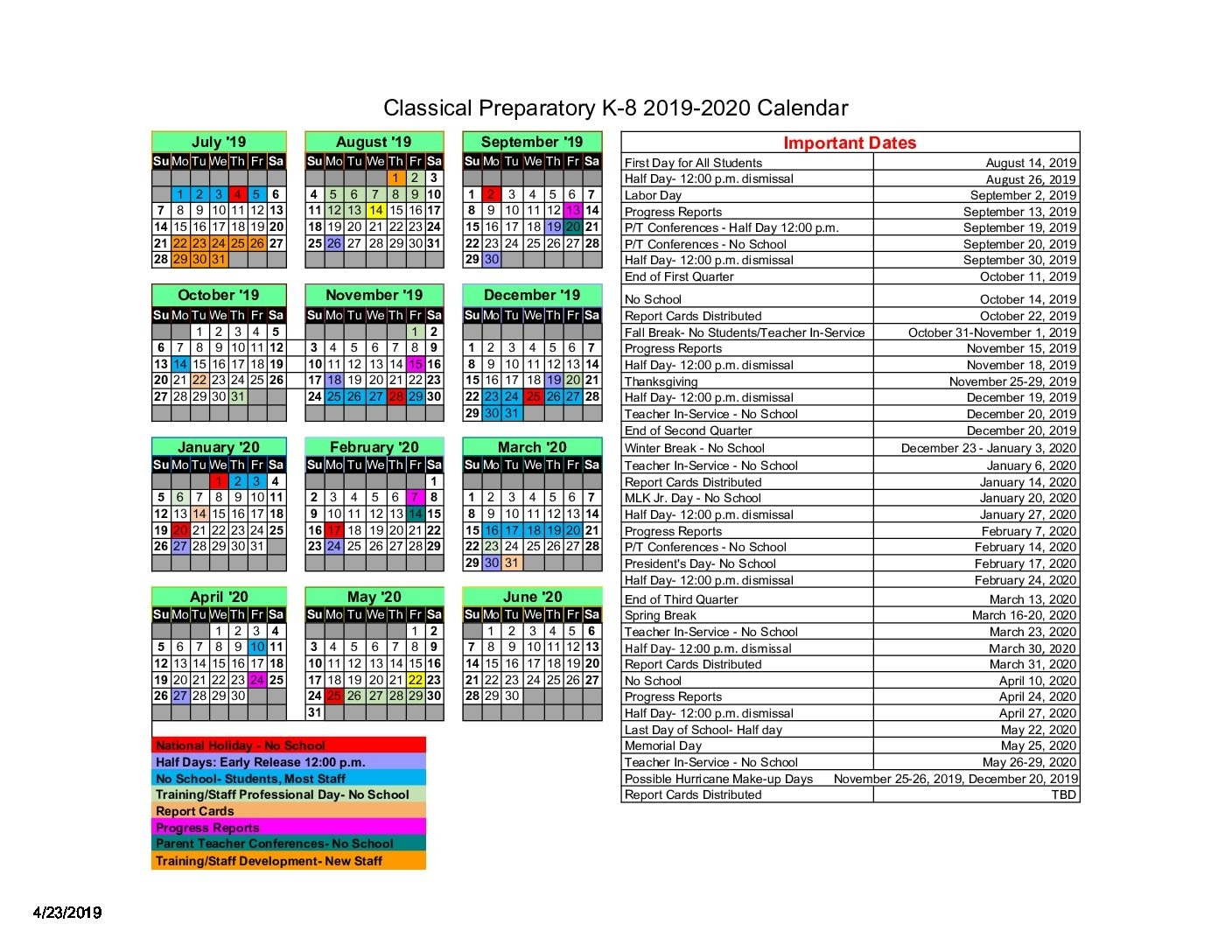 Academic Calendar 2019-2020 – Classical Preparatory School