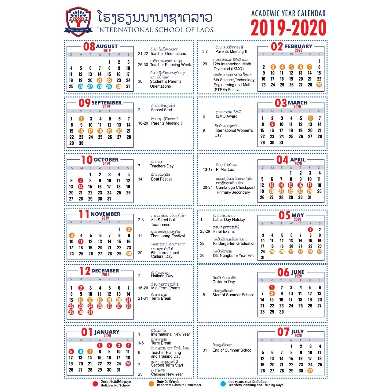 Academic Calendar 2019-2020 - International School Of Laos