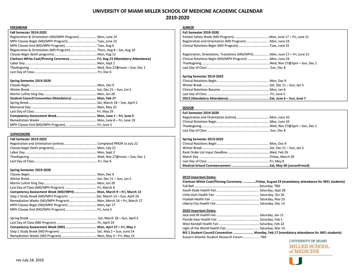 Academic Calendar: 2019-2020 - Miller School Of Medicine