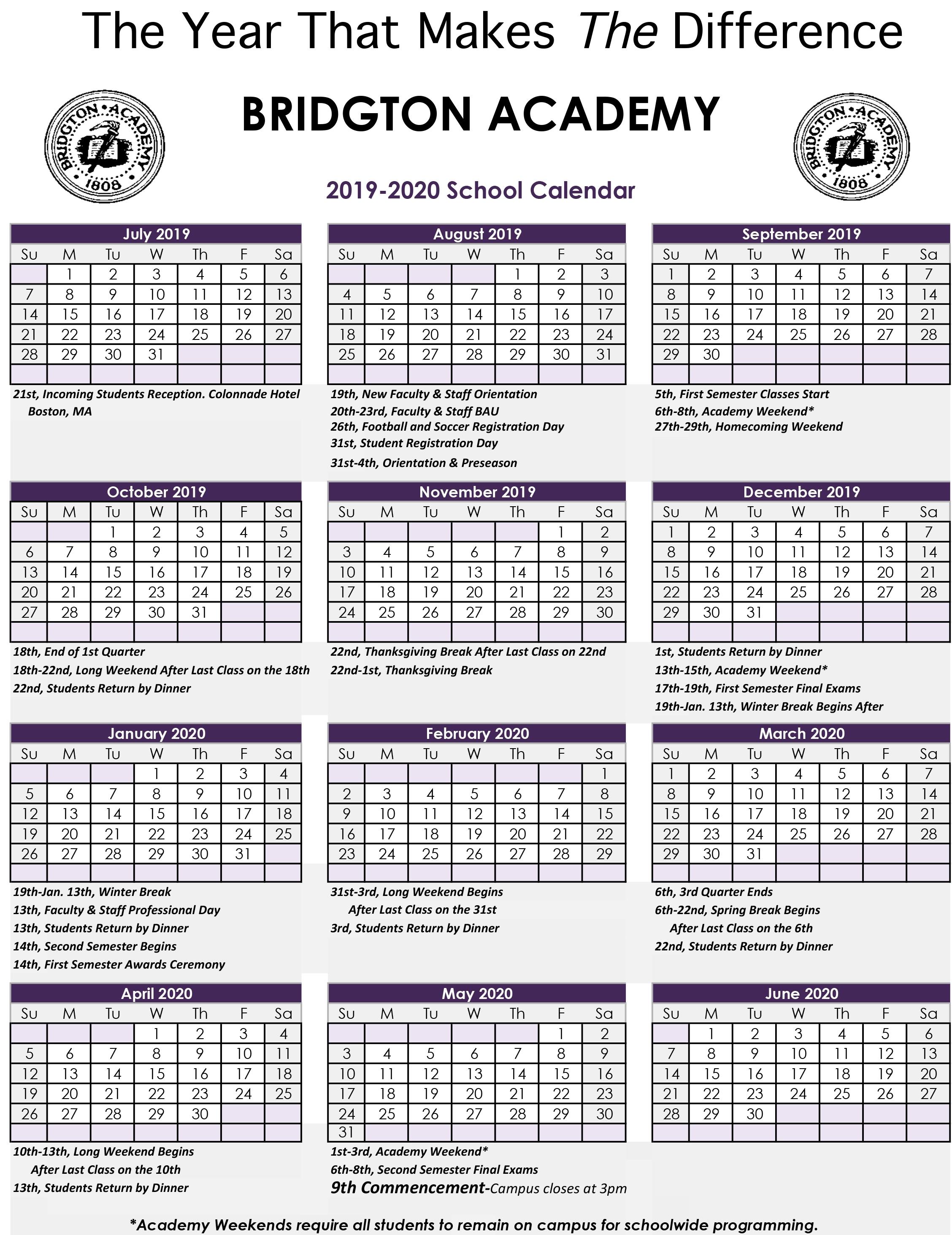 Academic Calendar – Bridgton Academy