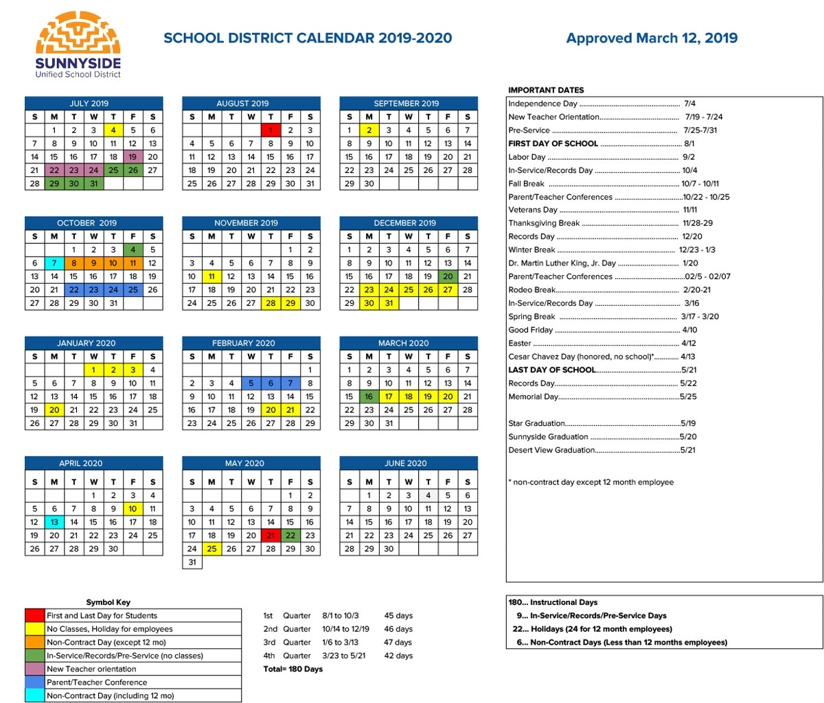 Academic Calendar | Sunnyside Unified School District