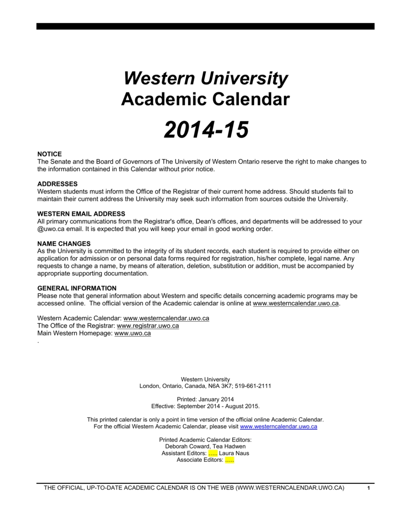 Academic Calendar - University Of Western Ontario