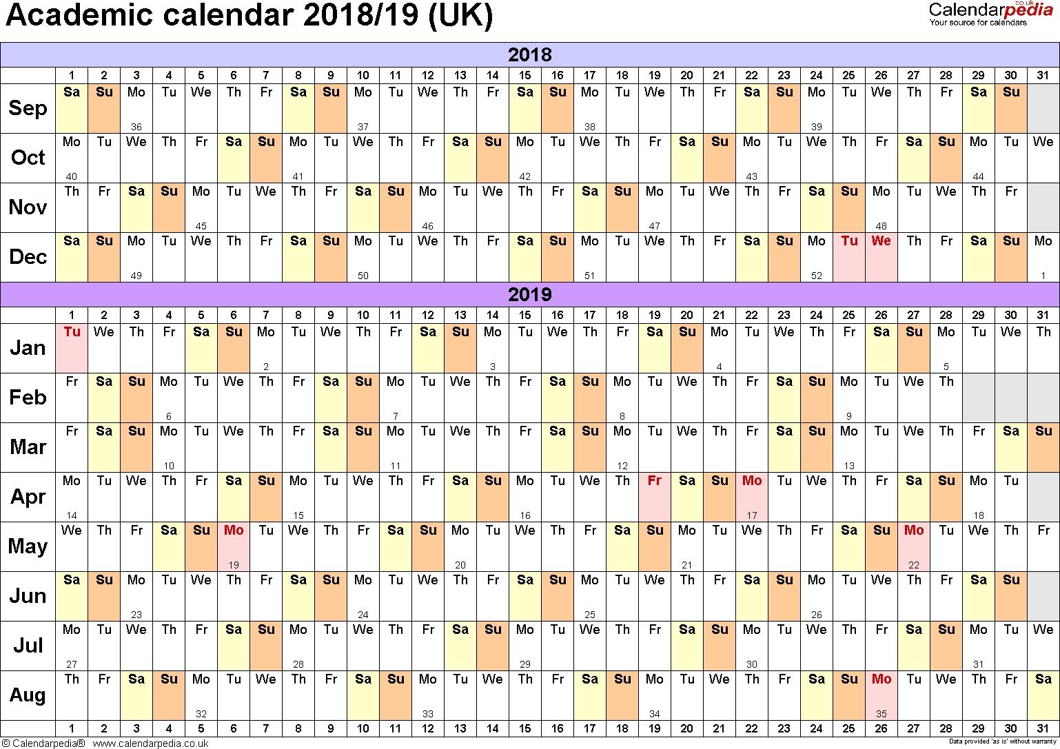 Academic Calendars 2018/2019 As Free Printable Excel Templates
