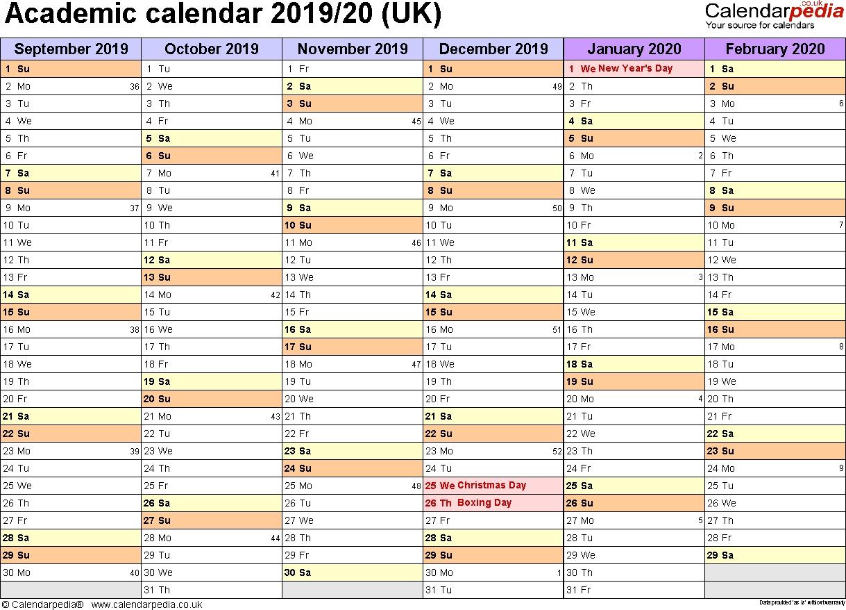 Academic Calendars 2019/2020 As Free Printable Excel Templates