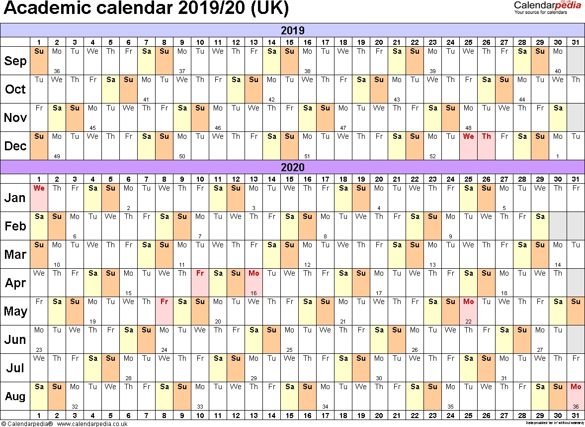 Academic Calendars 2019/2020 As Free Printable Excel Templates