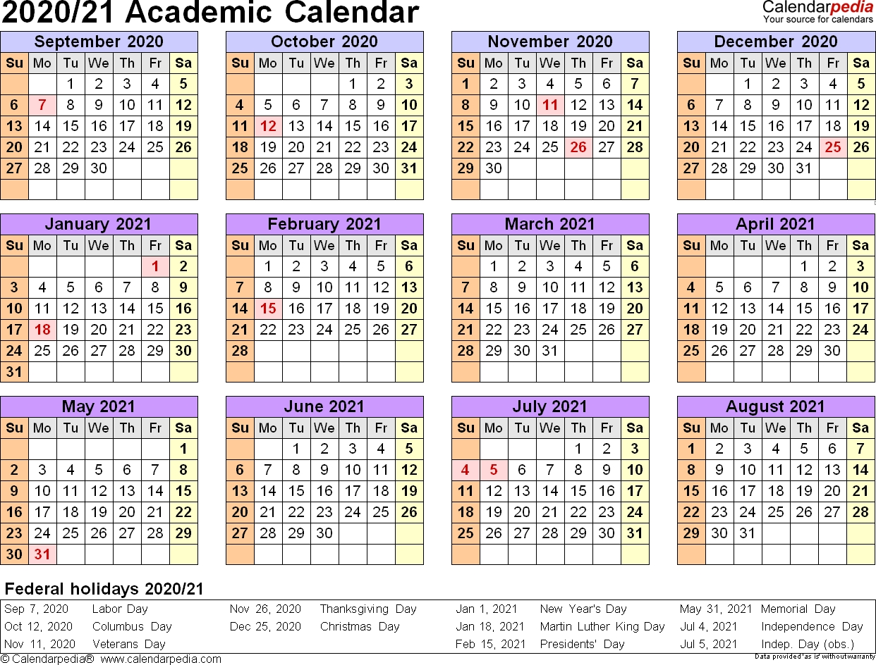 Academic Calendars 2020/2021 - Free Printable Pdf Templates