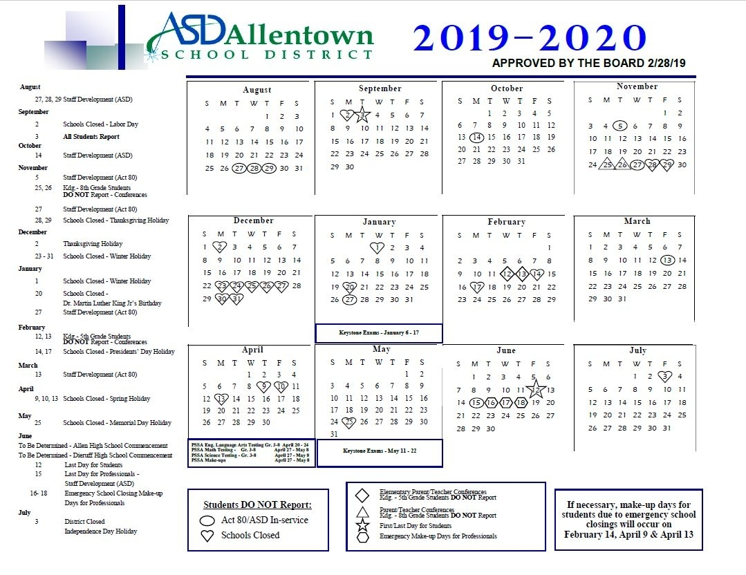 Academic Rating Periods & District Calendar - Allentown