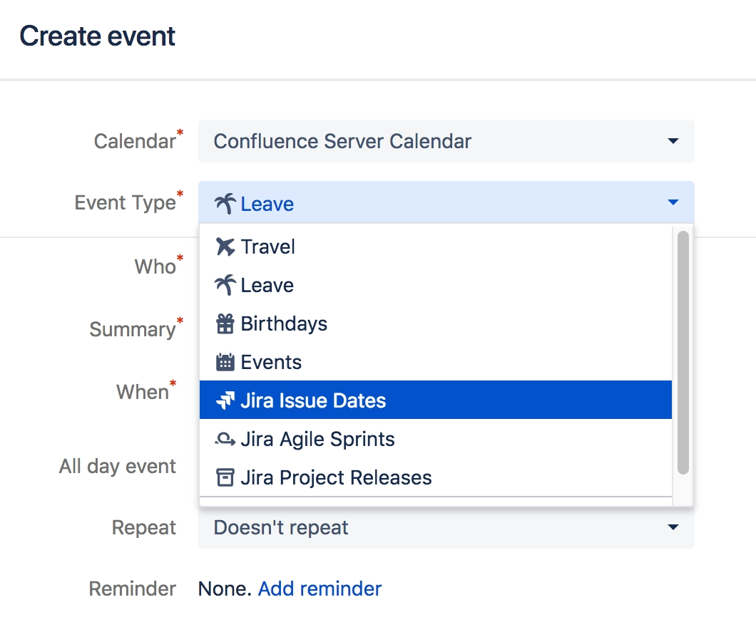 Add Jira Events - Atlassian Documentation