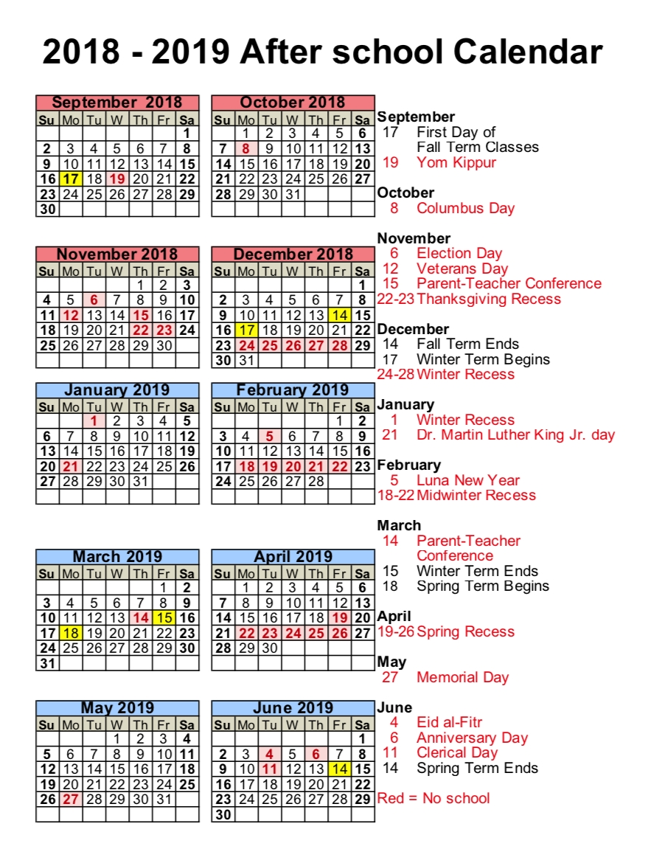 After School Calendar – Lango Kids Nyc