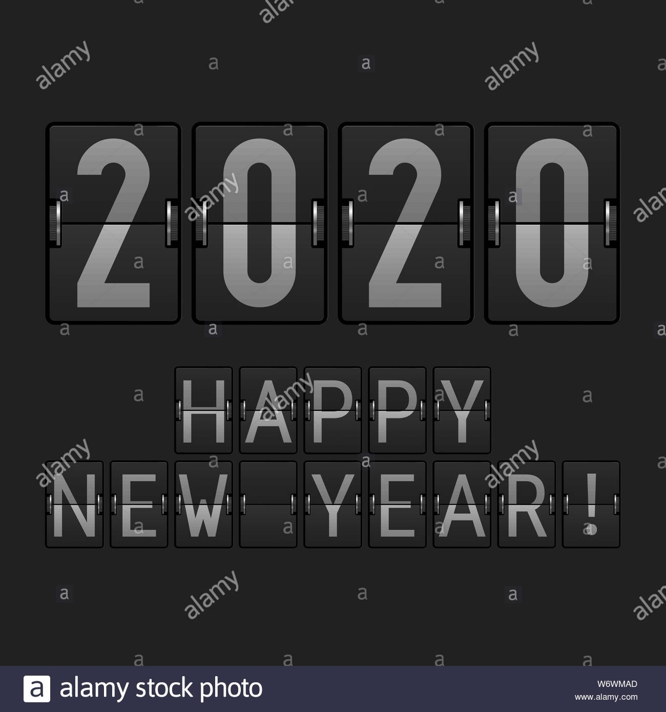 Airport Display Font. 2020 Big Numbers. Happy New Year 2020