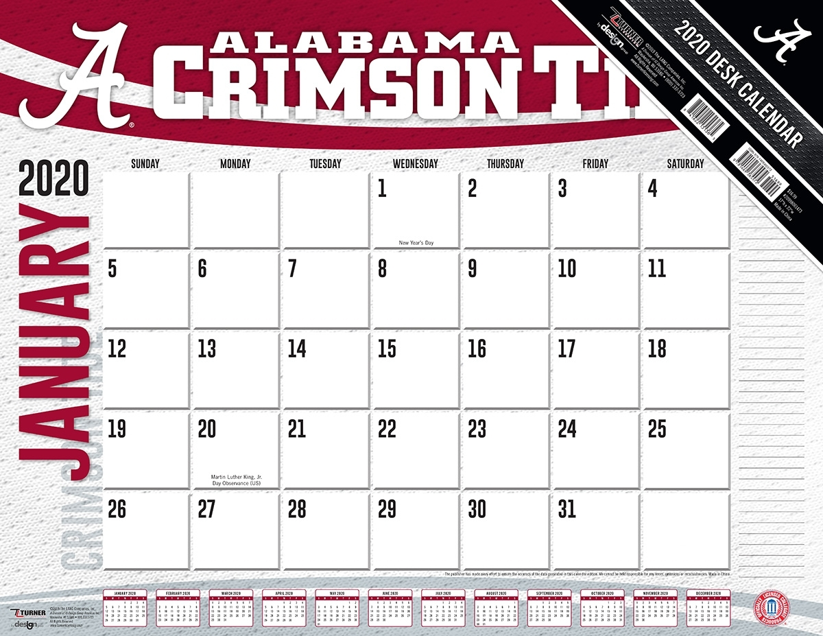 Alabama Crimson Tide 2020 Ncaa 22 X 17 Desk Calendar - Buy At Khc Sports