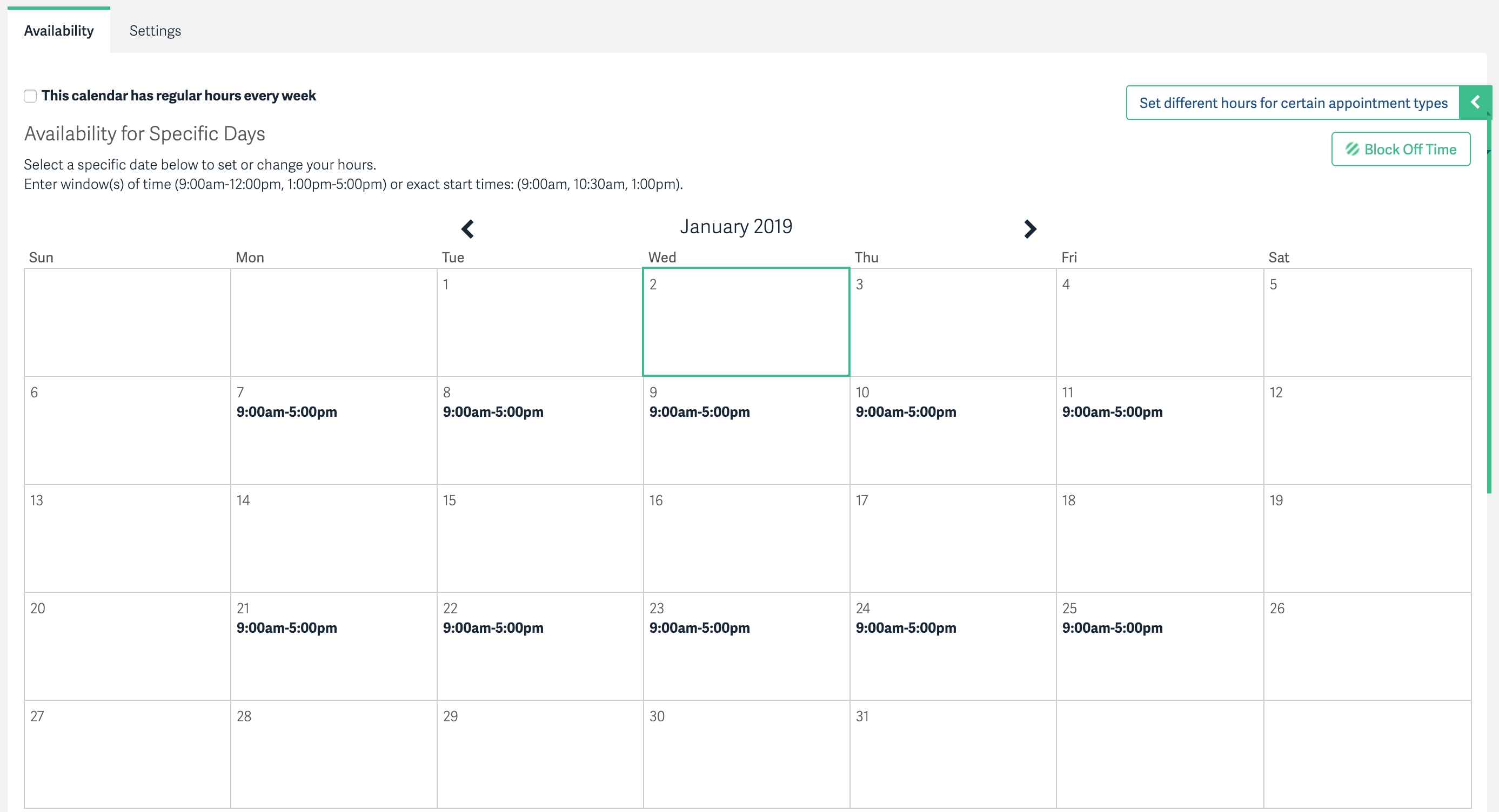 Alternating Hours Every Other Week – Acuity Scheduling