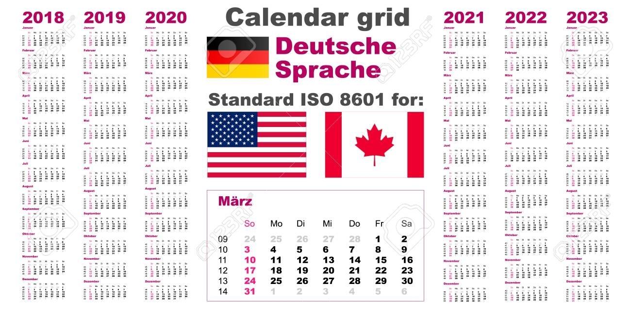 American Calendar Standard Us. Deutsch German Language 2018 2019..