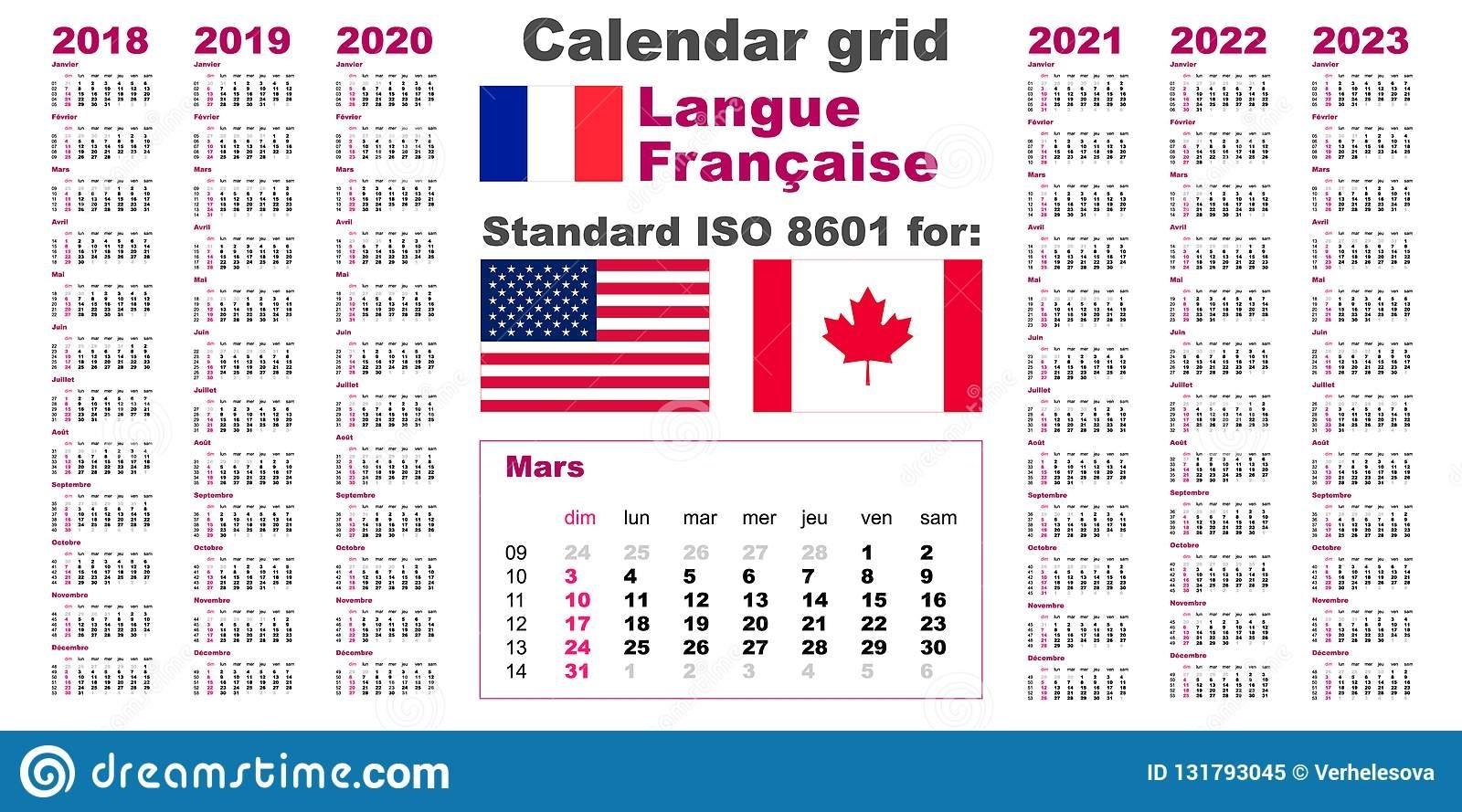 American Calendar Standard Us. French, Gaulish Language 2018