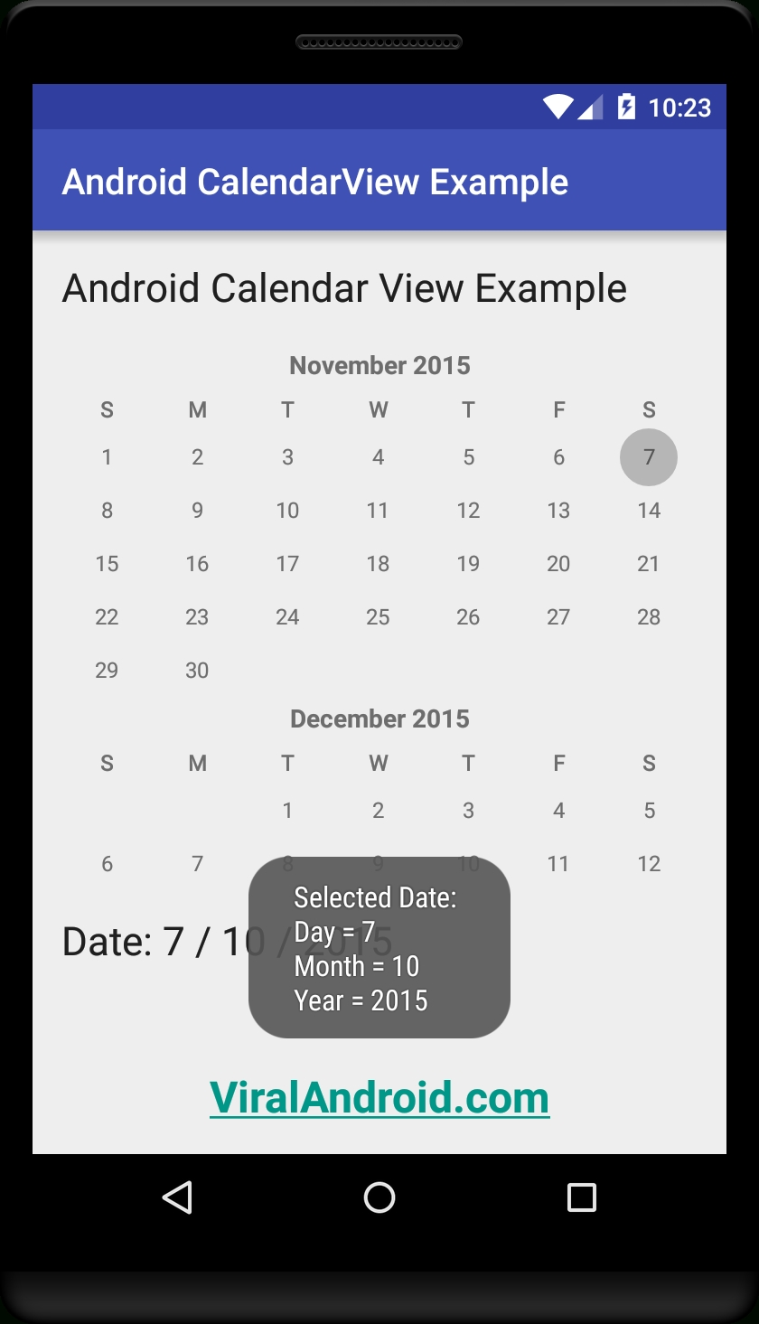 Android Calendarview Example | Viral Android – Tutorials