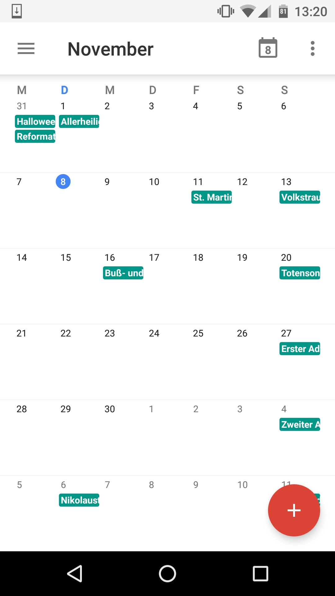 Android Calendarview With Events - Stack Overflow