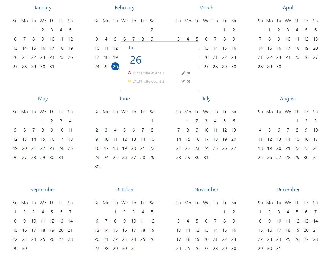 Angular 7 Year View Calendar - Album On Imgur