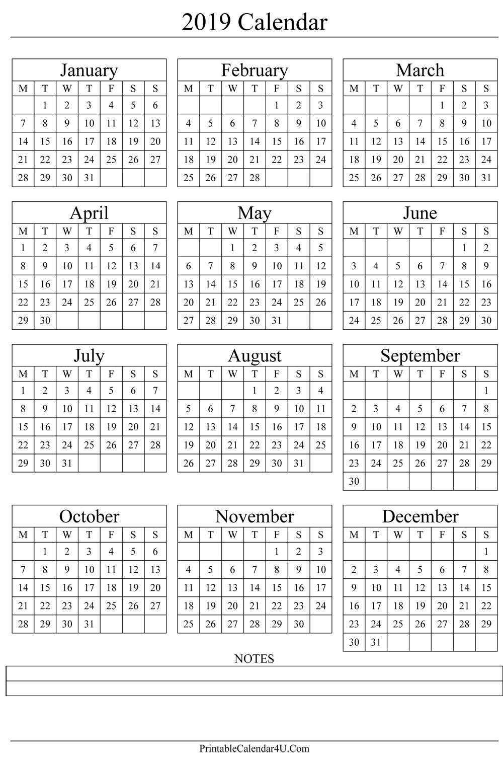 Annual Calendar 2019 Portrait Printable Calendar 2017
