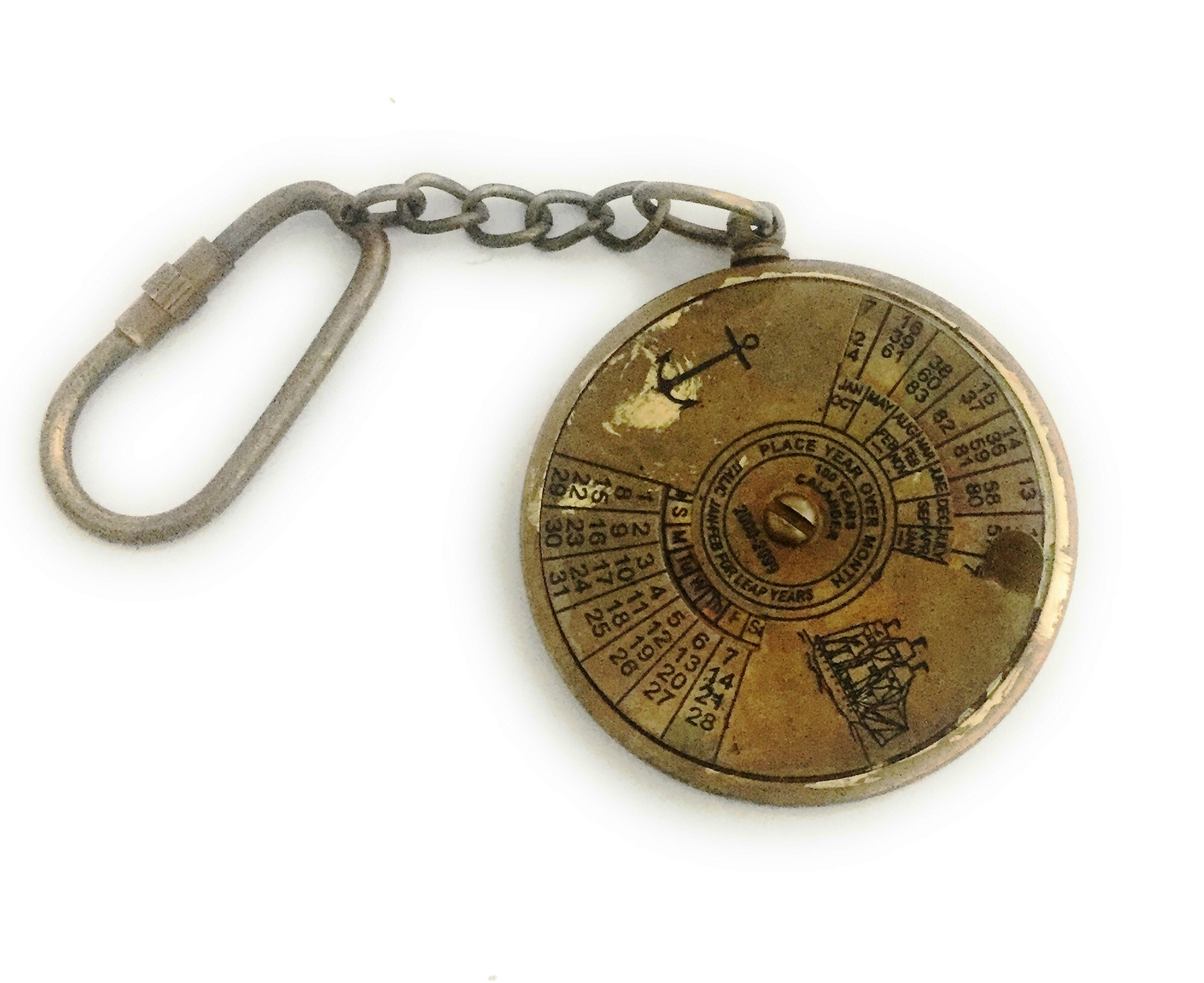 Antique Finish Brass 100 Years Calendar Working Keychain