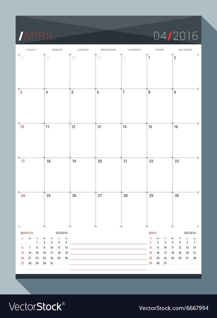 April 2016 Design Print Template Monthly Calendar